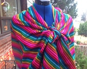 Rebozo Mexican Wrap, Aztec Scarf, Multicolor Stripes Tribal Shawl, Doula and Midwife Tools 3 yard Long Accessories Frida Costume