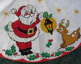 Vintage Christmas Tree Skirt - Hand Painted Sequins - Santa Claus Rudolph Lantern - Mid Century Modern - Holiday Decor - Table Topper
