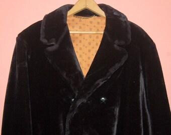 70s Mens Black Faux Fur Plush Vintage Coat Pimp Super Bad Badazz By Russell Taylor