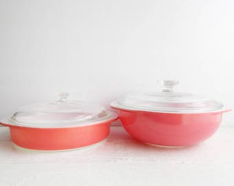 Vintage Pyrex Pink Casserole Bowl Dishes with Lids, 1950s, Flamingo Pink Covered Dishes