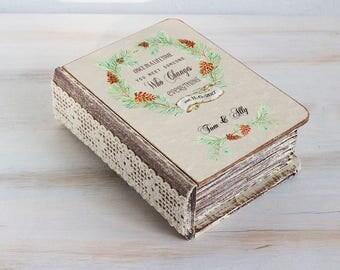 Autumn ring bearer box Rustic wedding box Wedding ring box Fall Ring Box Pine cone ring box Personalized Wedding Box Ring pillow