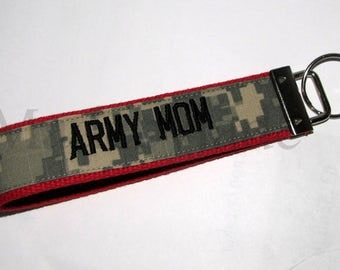 Army Mom Key Fob In Red and ACU