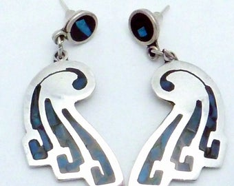 Vintage Prisca Mena Taxco Mexican Sterling Silver Turquoise Pierced Earrings 22827