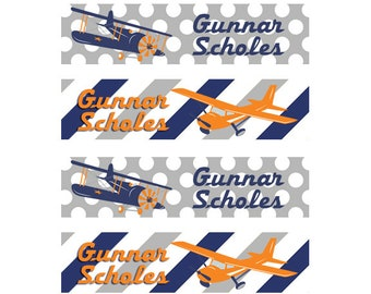 FAST SHIPPING! Clothing Name Tags, Clothing Name Labels, Iron-On, Fabric Name Labels, Fabric Name Tags, School Daycare Camp, Boy, Airplanes