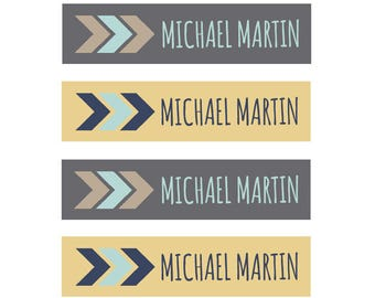 FAST SHIPPING! Fabric Name Labels, Clothing Tags, Clothing Labels, Fabric Labels, Iron On, School Labels, Daycare, Camp, Boy, Tribal Arrow