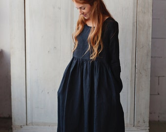 Linen Dress, Gothic Dress, Linen Maxi Dress, Boho Chic Clothing, Womens Linen Dress, Black Linen Dress, Oversized Dress / Black Smock LS