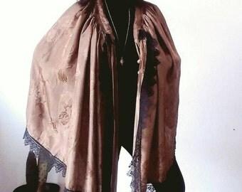 Late 1920s / 1930s Satin Ash Brown Rose Floral Sewn Stitched Black Lace Apron / Cape
