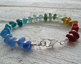 Rainbow Sea Glass Sterling Silver Bracelet