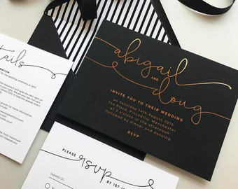 Foil printed Kate wedding invitations