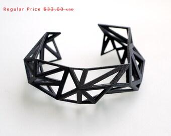 3d printed Triangulated Cuff bracelet in Black - Glossy Finish. modern statement jewelry. black geometric jewelry