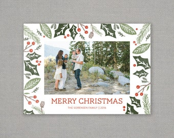 Christmas card // be merry // holiday foliage // holly berry // pinecone // mint // teal // pine  // traditional // red green