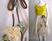 RESERVED Beautiful 1950s Cocktail Dress with Floral Applique Skirt and Sunshine Yellow Top