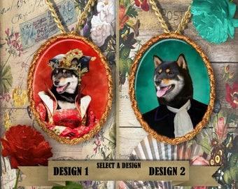Shiba Inu Jewelry, Shiba Inu Brooch or Pendant, Necklace Charm, Porcelain Handmade Jewelry, Custom Shiba Inu Dog Jewelry By Nobility Dogs