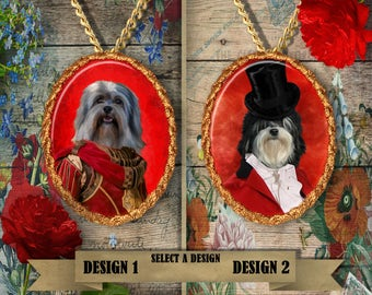 Lowchen Jewelry. Lowchen  Pendant or Brooch. Lowchen Necklace. Lowchen  Portrait. Custom Dog Jewelry by Nobility Dogs. Dog Handmade Jewelry