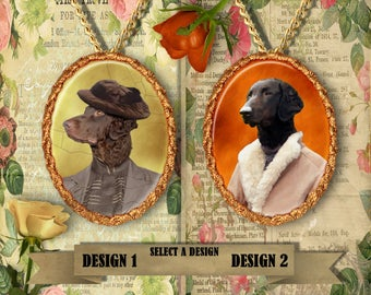 Curly Coated Retriever Jewelry. Curly Coated Retriever Pendant or Brooch. Curly Coated Retriever Necklace. Curly Coated Retriever Portrait.