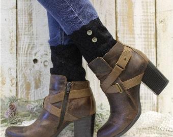 BOOT CUFFS,  Black Stretch lace boot cuffs Faux lace boot cuffs lace boot cuffs boot toppers mini legwarmers cuffs Catherine Cole Studio LC1