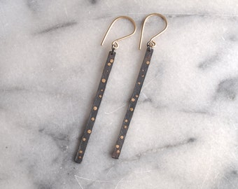 Stardust Earrings. Mixed Metal Jewelyr. Black and Gold. Sterling Silver Stick Earrings. Eco Friendly Jewelry. Astronomy Jewelry