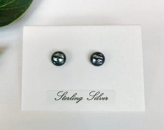 Tiny Zebra print pattern dichroic studs - fused glass studs on sterling silver
