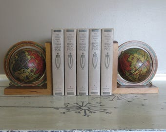 Himark Globe Bookend Terrestrial Globe Office Supplies Wooden Book End Italy Old World Design
