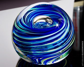 Hand Blown Glass Paperweight - Light Blue and Green Swirls with Bubble - Small
