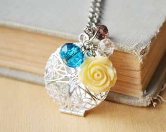 Ivory Rose Filigree Diffuser Custom Photo Locket Necklace