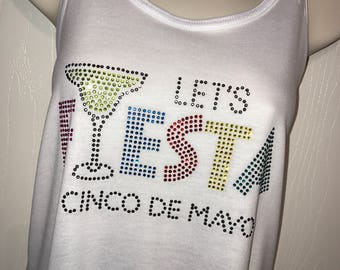 Personalized Cinco de Mayo Tank/Margarita Tank/Let's Party Ladies Racerback Tank/FREE Name Personalization on back