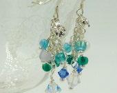Ocean Blue Cluster Earrings, Crystal Earrings, Seed Bead Earrings, Reserved for Dianna