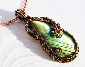 """Labradorite & Hand Woven Oxidized Copper Wire Pendant - 1.25"""" x .2.25"""""""
