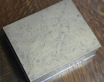 antique brass hand decorated card box