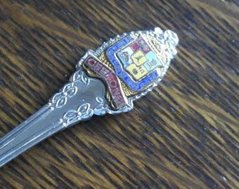 vintage metal with enamel top geelong tea spoon
