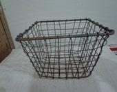 Vintage Farmhouse Primitive Decor Wire Storage Basket