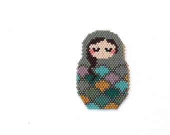 Russian Doll Mermaid Matrioshka Beadwoven Brooch Miyuki Delica Seed Beads Graphic Collection