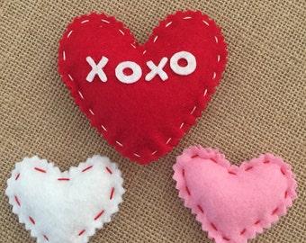 Felt hearts - set of 3  Valentines Day