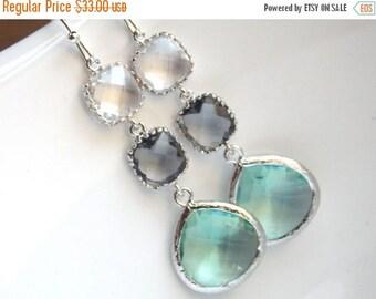 SALE Aqua Earrings, Gray, Grey, Clear, Erinite, Green Mint, Glass Earrings, Silver, Bridesmaid Jewelry, Bridesmaid Earrings, Bridesmaid Gift