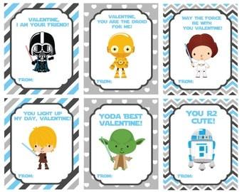 Star wars Valentine's Day Cards, Valentine's Day Cards, Printable,Instant Download, Digital
