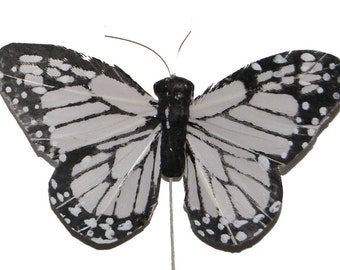 12 pc 3 Inch Black and White Feather Butterfly (BF785BW), Wedding Butterflies, Butterfly Decorations