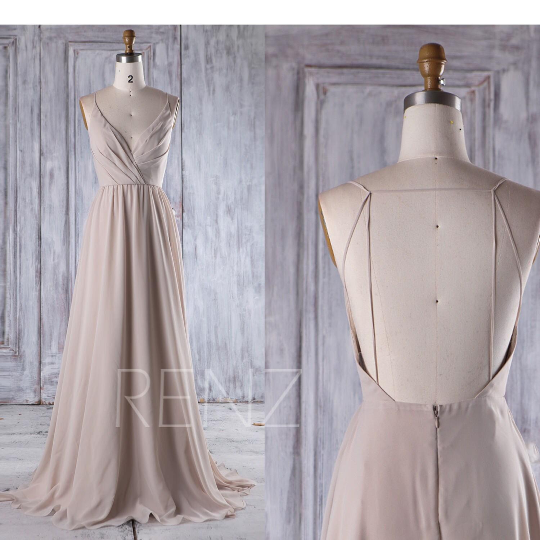 2017 Cream Chiffon Bridesmaid Dress Deep V Neck Wedding