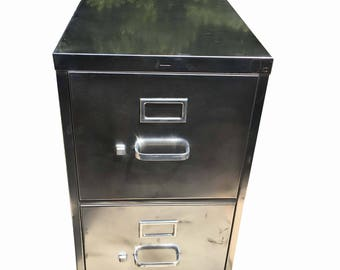 Vintage file cabinet,  metal, brushed and polished steel  cabinet with two drawers and silver hardware and caster wheels made to order