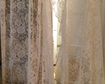 "47 x 84"" Lace curtain panels, antique white lace, ruffled priscilla shabby chic, Cottage, Victorian, Romantic"
