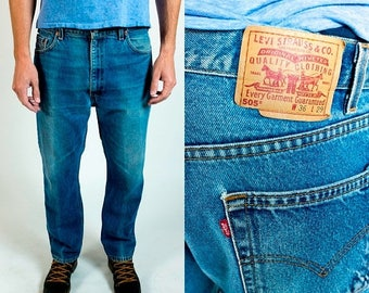 SPRING SALE Vintage 1980s Levi's 505 Perfect Fade Medium Wash Denim Straight Leg Jeans Fits Like 34 // 36