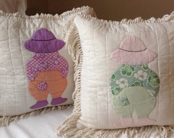 Farm Boy Accent Throw Pillow Antique Quilt Chenille