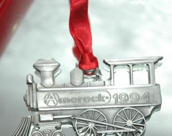 Vintage Red Ribbon 1994 Amerock Commemorative Pewter Silver Christmas Train Engine Ornament - FREE SHIPPING