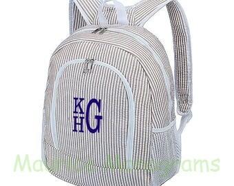 Personalized Large Seersucker Backpack - Khaki Brown Seersucker School Booksack or Diaper Bag - Monogrammed FREE