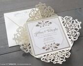 Laser Cut Woodland Floral Woodgrain Wedding Invitation Sample | Laser Cut Invitation | Glitter Invitation