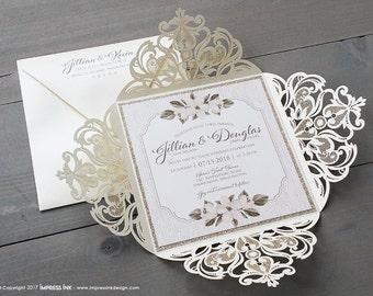 Laser Cut Woodland Floral Woodgrain Wedding Invitation Sample