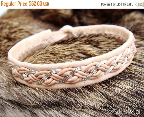 All Natural Norse Pagan Viking Bracelet DRAUPNIR Sterling Silver wire Braid on vegetable tanned Reindeer Leather with carved Antler button