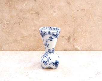 Vintage Royal Copenhagen Blue and White Full Fluted Lace Topped Square Bud Vase