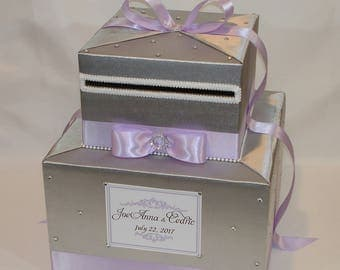 Silver and Lavender Wedding Card Box-Rhinestone accents