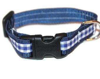 Small Dog collar Tiny Dog Collar Navy Dog Collar and Leash Gingham Dog Collar Extra Small Collar Navy Gingham Collar Navy Small Leash