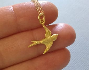 Sparrow Necklace in Gold -Gold Bird Necklace - Swallow Necklace in Gold